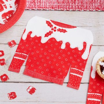 Festive Red & White Christmas Jumper Napkins - pack of 20, large